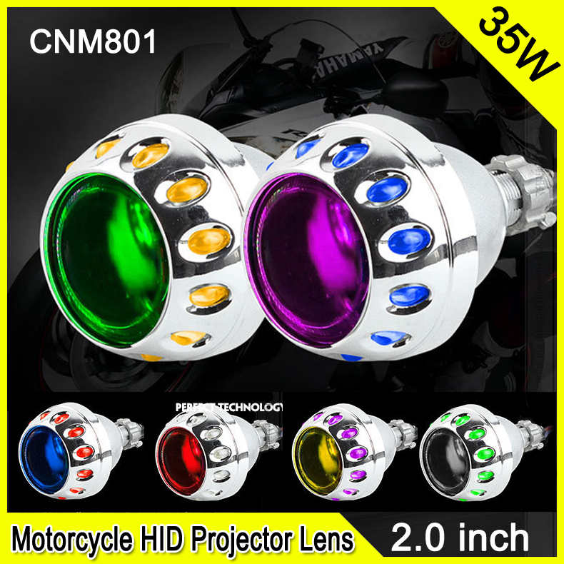 2.0 Inch 35W Car & Motorcycle H1 H4 H7 Xenon Hid Projector Lens Motorcycle DRL Fog Xenon Headlight With ccfl Angel Eyes CNM801 royalin car styling hid h1 bi xenon headlight projector lens 3 0 inch full metal w 360 devil eyes red blue for h4 h7 auto light