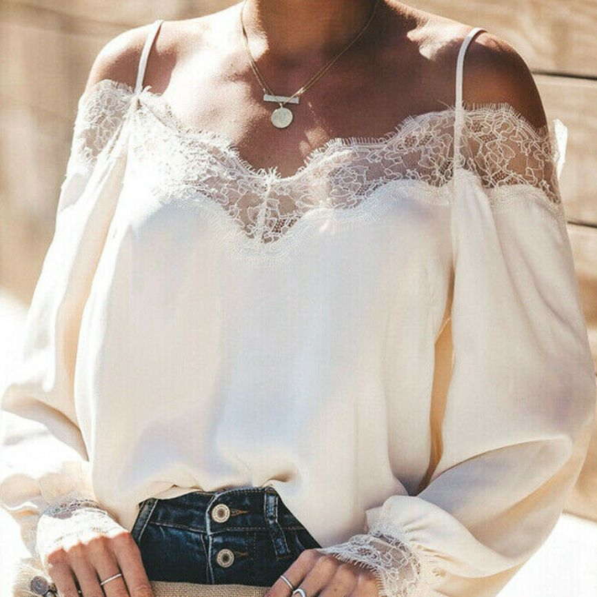 New Women Sexy Off-Shoulder Long Loose Sleeves Ruffle Lace Blouse Shirt  Ladies Backless Solid Color Casual Blouse Tops Summer