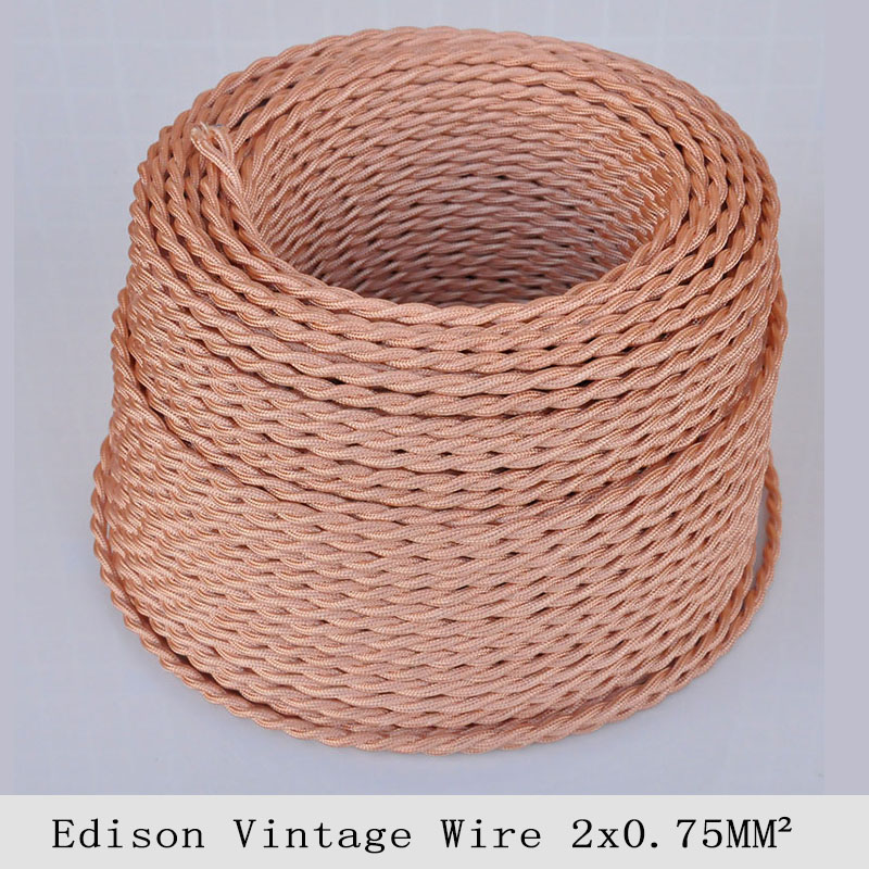 Braided Copper Cable : Mm edison vintage electrical wire rose gold twisted