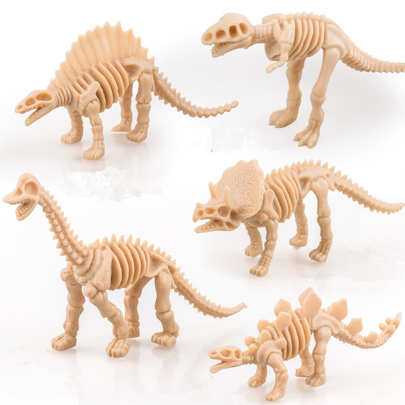 6Pcs Simulation Dinosaurs Skeleton Miniatures Mini Dinosaur Model Tyrannosaurus Rex Figures Kids Educational Toy Dollhouse Decor