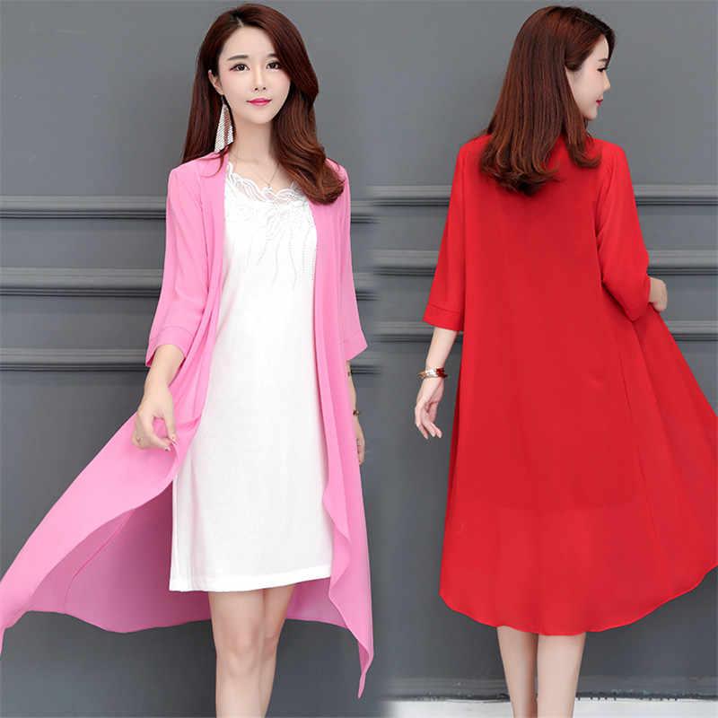 에어컨 셔츠 2020 여성 여름 태양 보호 의류 시폰 카디건 코트 플러스 크기 5XL 얇은 셔츠 10 색 W517
