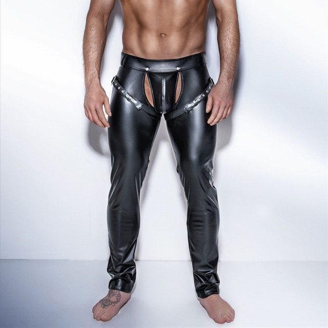 0ddca1e6f Gothic Men Skinny Faux PU Leather Pants Shiny Black Trousers Nightclub  Stage Performance Singers Dancer Open Front Leather Pants