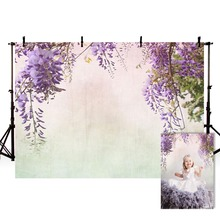 Vinyl Photography Backgrounds Hand Drawn Oil Painting Spring Theme Wisteria Baby Birthday Kids Backdrop Photo Studio