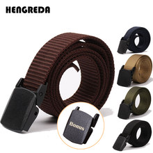 2019 Tactical Belt Men Nylon Army Belts Adjustable Outdoor Travel Waist Belt Army Plastic Buckle Belt for Trousers 120cm 130cm(China)