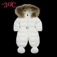 Winter newborn baby down coats coveralls girls down coats boys jumpsuits children snow wear kids snow coats natural fur