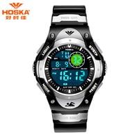 HOSKA High Quality 50ATM Waterproof Chronograph Calendar LED Digital Wristwatch Digital Watch Children Luminous Sports Watches