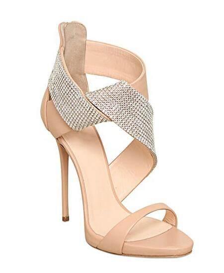 2018 summer new woman nude crystal open toe high heel sandals Fashion platform super high thin heel sandals Ladies party shoes karinluna 2018 fashion cross strap high heel platform summer sandals woman open toe heel shoes office date ladies footwear
