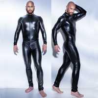 Männer Sexy Wetlook Faux Leder Latex Catsuit Body Heißer Erotische Dessous zentai homosexuell fetisch Tragen pvc kostüm Öffnen Gabelung Clubwear