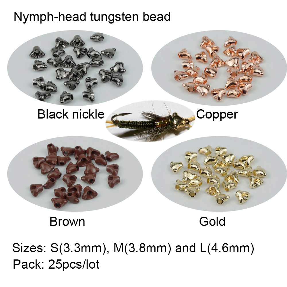 25pcs Slotted Tungsten Beads Jig Hooks Heavy Nymph Head Fly Tying Beads Gold