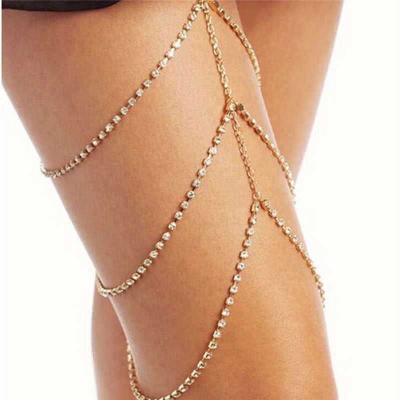 PINKSEE Rhinestones רגל ירך שרשרת מבריק נשים סקסי גוף שרשרת תכשיטי לרתום חוף רב שכבות זהב צבע שרשרות