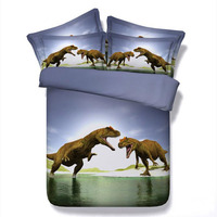 3D Dinosaur Bedding Sets Queen Size Quilt Duvet Cover Animals Bed Sheets With Pillow Cases 3PCS