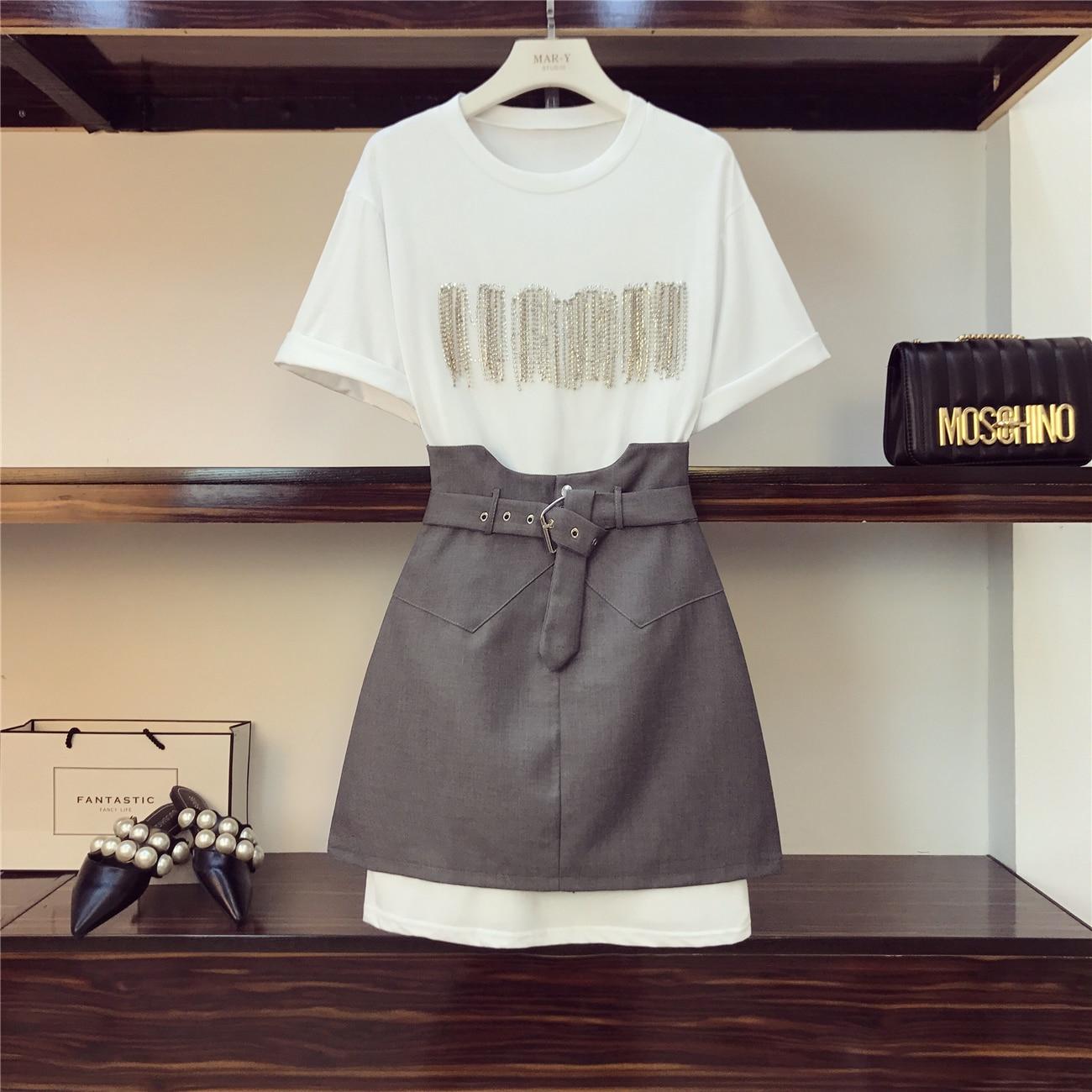 4ffcf869f0 T Femmes shirt Ensembles Haute gris Printemps Lourd Travail Ensemble Foret  Jupe Taille pièce Chaud Noir ...