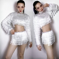 2018 New Sexy DJ Women Singer Stage Show Performance Set DS Costume Hip hop Nightclub Dancers Flicker Tassel Suit