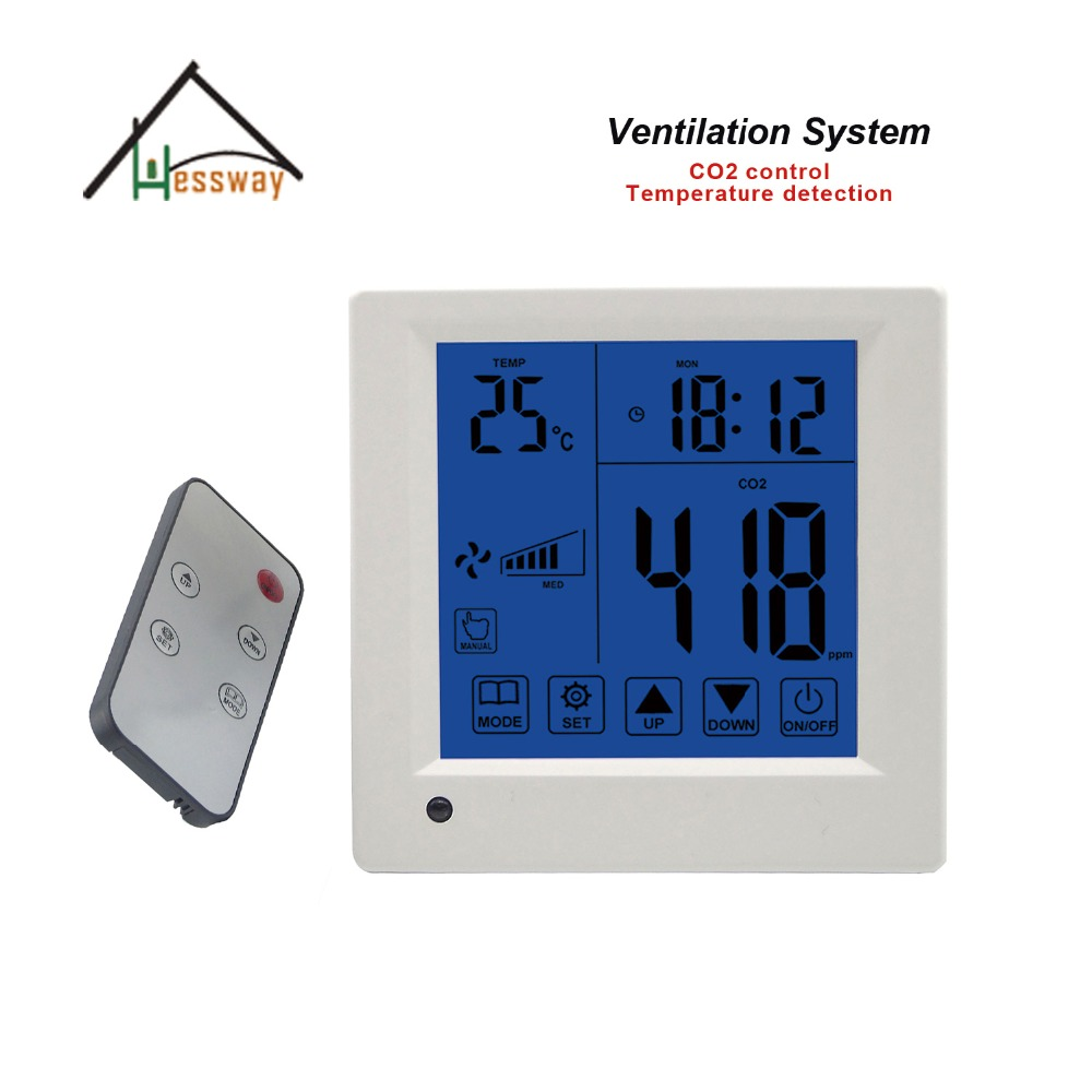 Temperature time display air quality controller CO2 adjustment 350 1500ppm for Remote control