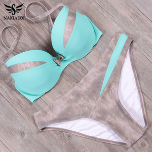 Image 5 - NAKIAEOI 2019 Newest Sexy Bikini Set Push Up Swimwear Women Swimwsuit Patchwork Bathing Suit Summer Beach Wear Swimming S~2XL