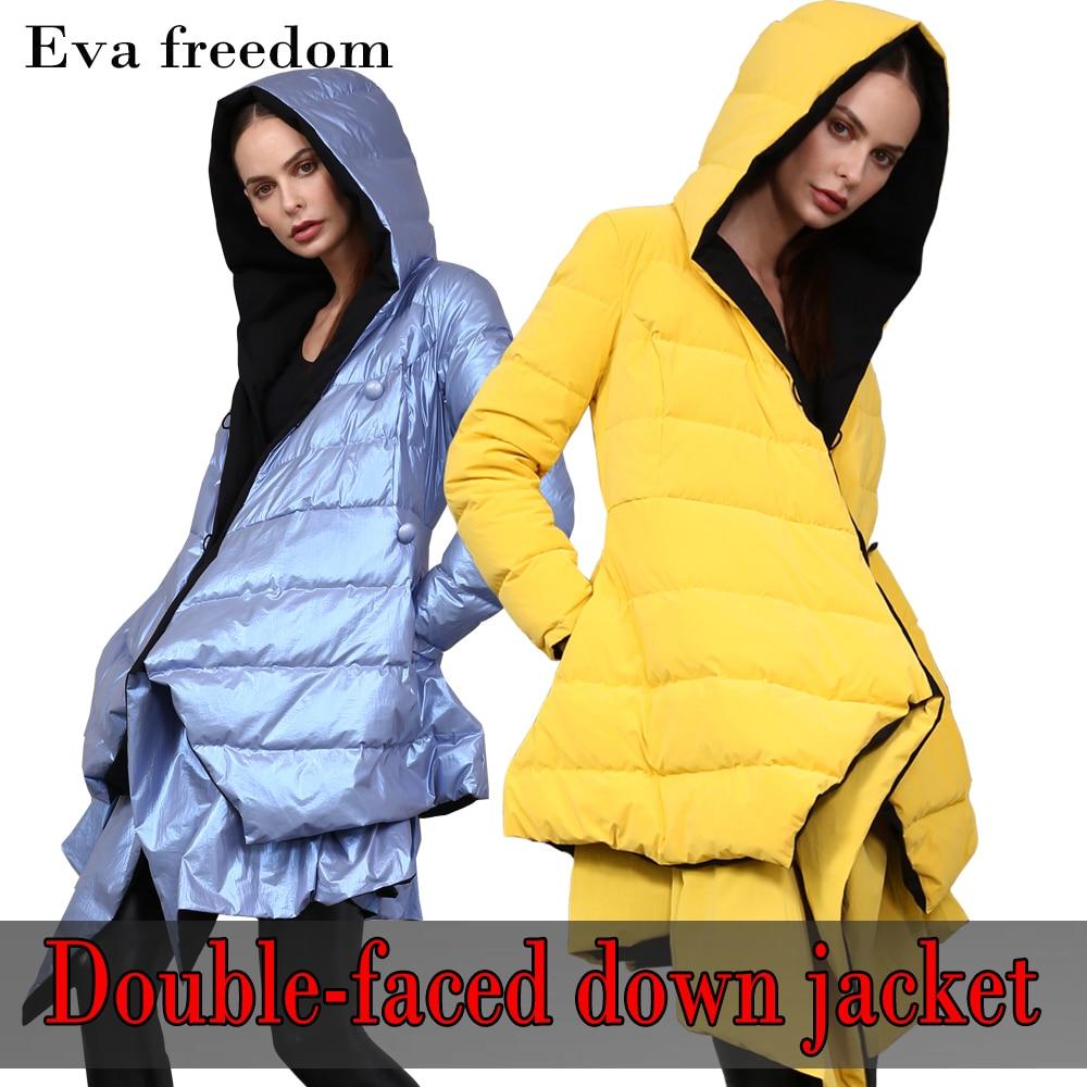 Eva freedom/Новый дизайн; блестящая цветная модная куртка для девочек; 90% белый Утиный пух; 2019 зимний Двусторонний пуховик