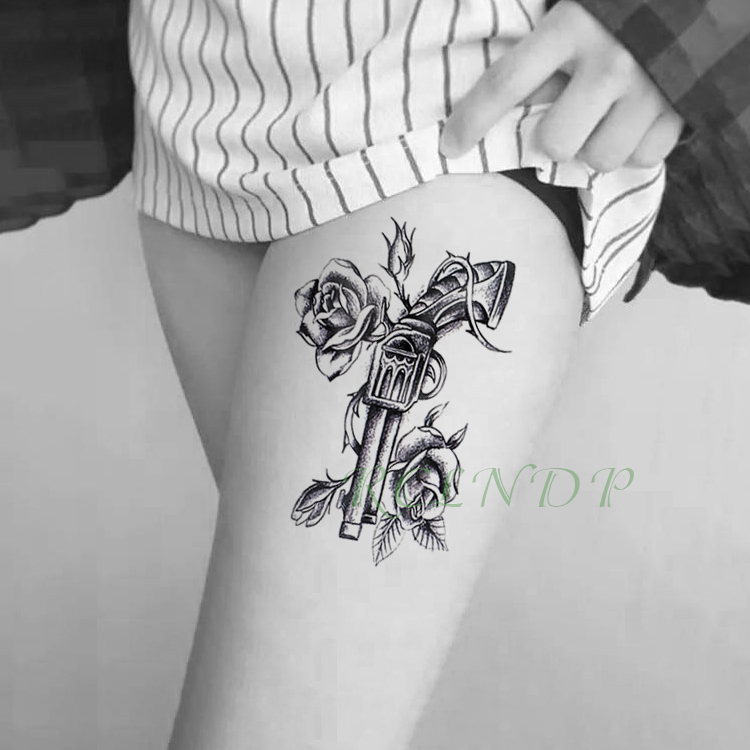 Waterproof Temporary Tattoo Sticker Vintage Gun Pistol With Rose