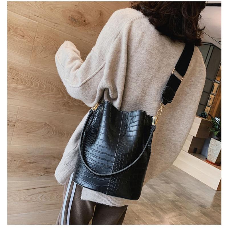 MoneRffi  2019 New Alligator Bucket Bags Women Crocodile Pattern Handbag Capacity Casual Shoulder Messenger Bags Ladies PU Purse