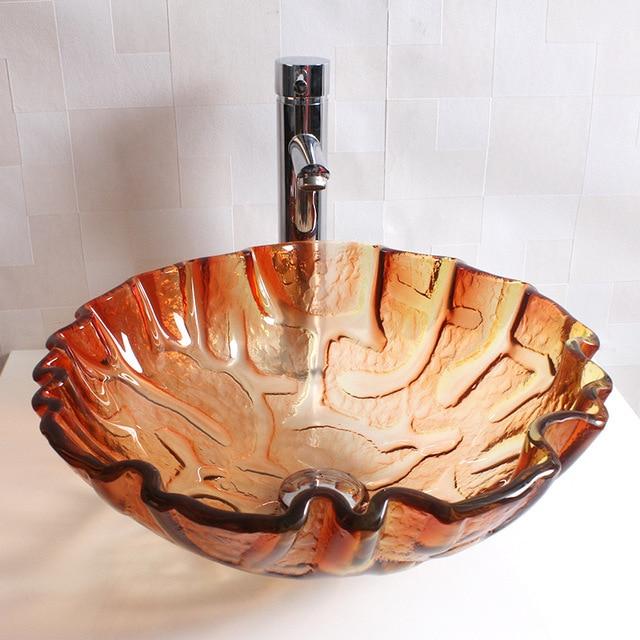 New Tempered Glass, Bathroom Sink, Light Orange Colored Glaze, Creative Art  Pots,