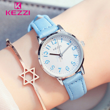 KEZZI Top Brand Waterproof Children Watches Quartz Watch for Student Leather Strap Wristwatches 5 Colors Kids Wrist Watches