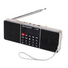 L-288 del Mini Estéreo Recargable Portable FM Radio Altavoz Soporte de Pantalla LCD TF Tarjeta de Disco USB Reproductor de Música MP3 Altavoz