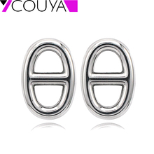 0731b9a3593e Pendientes de perno de bloqueo geométrico ovalado de plata Vintage para  mujer lindos pendientes antialérgicos de acero quirúrgic.
