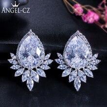 ANGELCZ Luxury Multi Shaped Austrian White Crystal Women Big Flower Stud Earrings For Gorgeous Bridal Wedding Jewelry AE005
