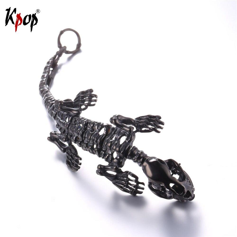 Kpop Bracelet Stainless Steel Hip Pop Cool Dinosaur Bangle Tyrannosaurus Gold/Black Color Jewelry Animals Bracelets Gift H2703