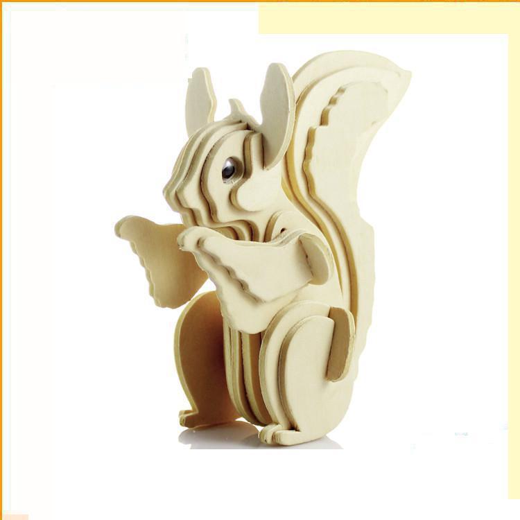 Детская 3D моделирование деревянные головоломки модель животных белка 3D головоломки Обучающие Игрушечные лошадки Паззлы для детей
