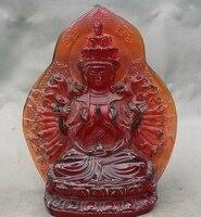 2 товара 6 Тибет Буддизм ручной работы Amber 1000 Arms Авалокитешвара богиня статуя
