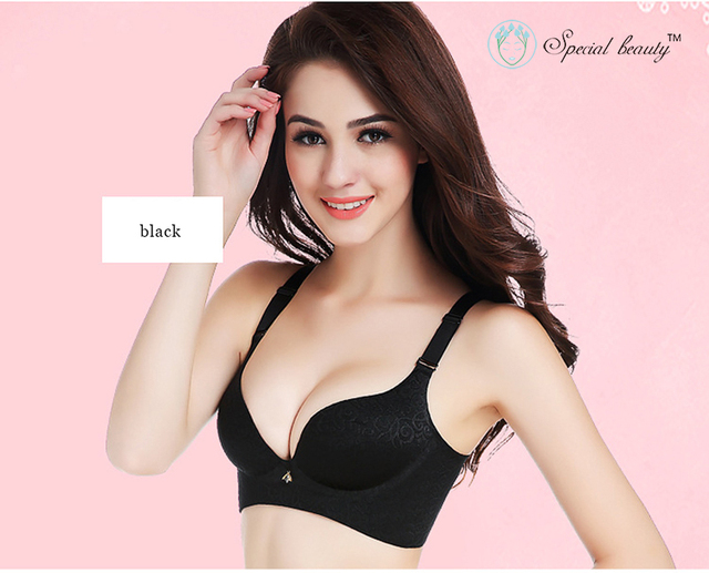 62c8320203960 Black color Super Sexy Embroidery Seamless Comfortable Noble Wire Free A to  C Deep V Push up Bra