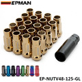 EPMAN Racing Gold 48MM Steel Open Exhtended Wheel Acorn Rim Lug Nuts Set 12*1.25 Tuner 20Pcs With Key EP-NUTV48-125-GL