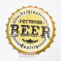 BEER Large Beer Cover Tin Sign Logo Plaque Vintage Metal Painting Wall Sticker Iron Sign Bar KTV Store Decorative 35X35 CM