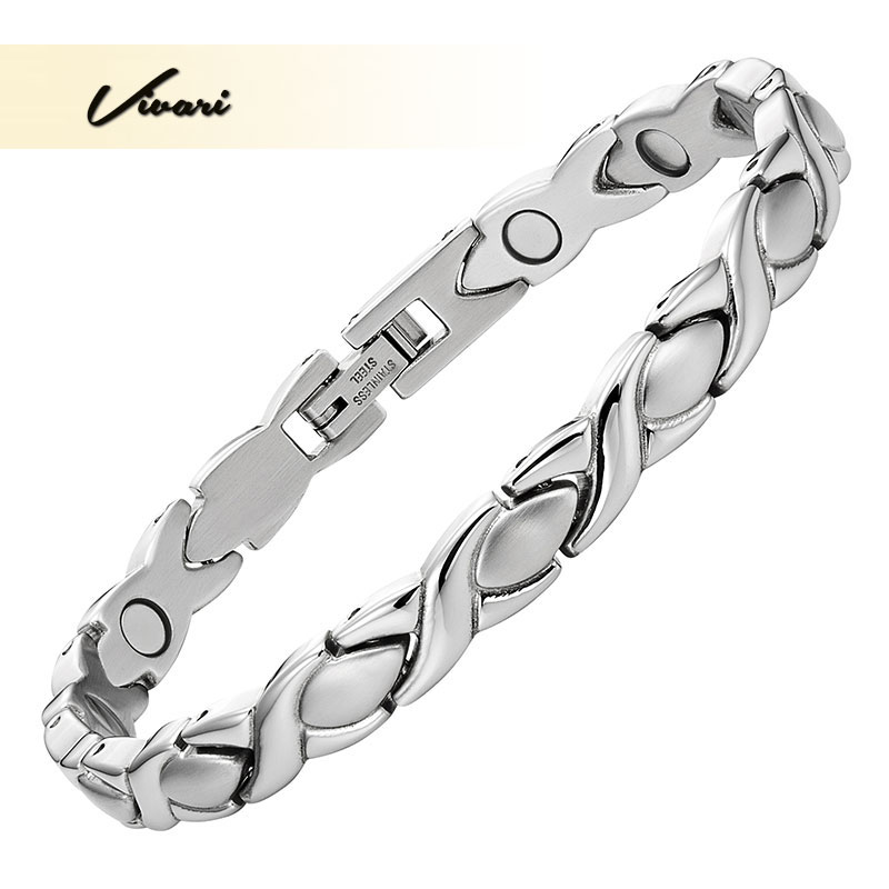 Vivari Classic Therapy Magnetic Noble Bracelet Women Stainless Steel Silver Color Fashion Jewelry Pain Relief for Arthritis  Vivari Classic Therapy Magnetic Noble Bracelet Women Stainless Steel Silver Color Fashion Jewelry Pain Relief for Arthritis
