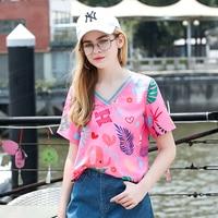 2018 Summer New Fashion V Neck Print Chiffon Shirt Harajuku Pink Loose Women Short Sleeve T Shirt