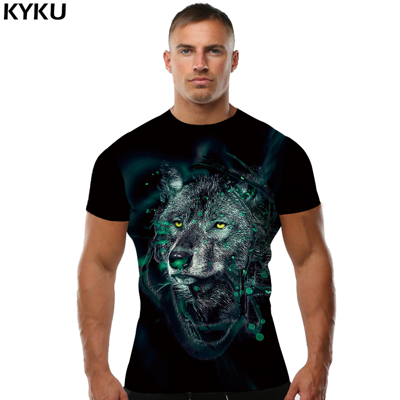 KYKU Brand Wolf   T     shirt   Head   T  -  shirt   Clothing Tops   shirts   Clothes Men Rock Summer Cool O-Neck