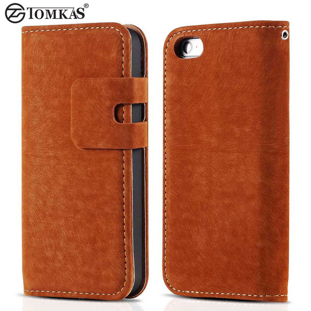 Tomkas Soft PU Leather Case For iPhone 5 5S SE Phone Stand Wallet With Card Holder Luxury Flip Cover Coque For iPhone5