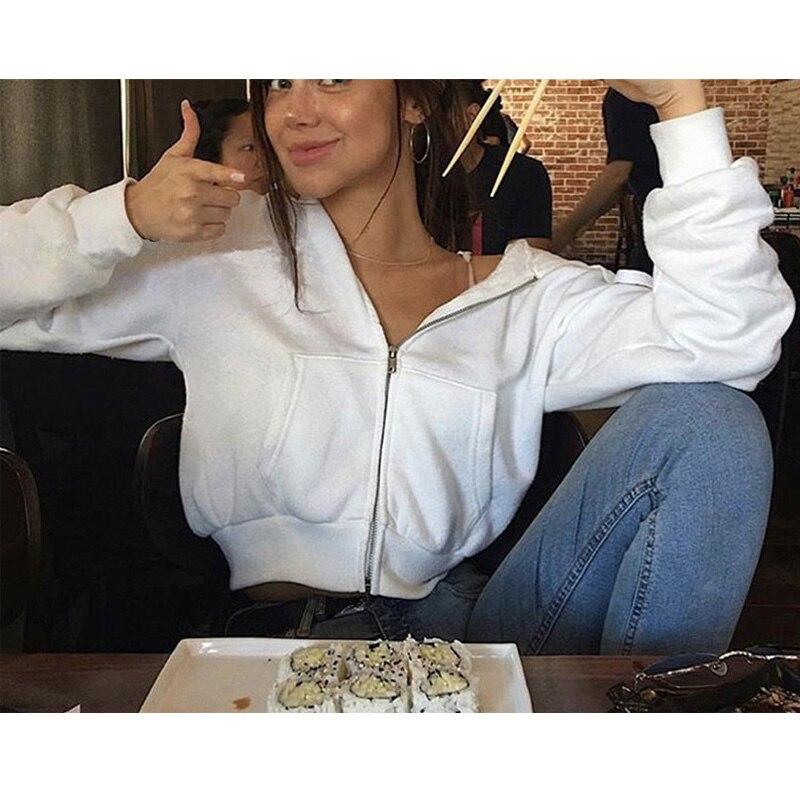 VS Pink Winter White Zip Women Hoodies Love Harajuku Blackpink Bt21 Ariana Grande Bts Monsta X Cropped Top Oversized clothes