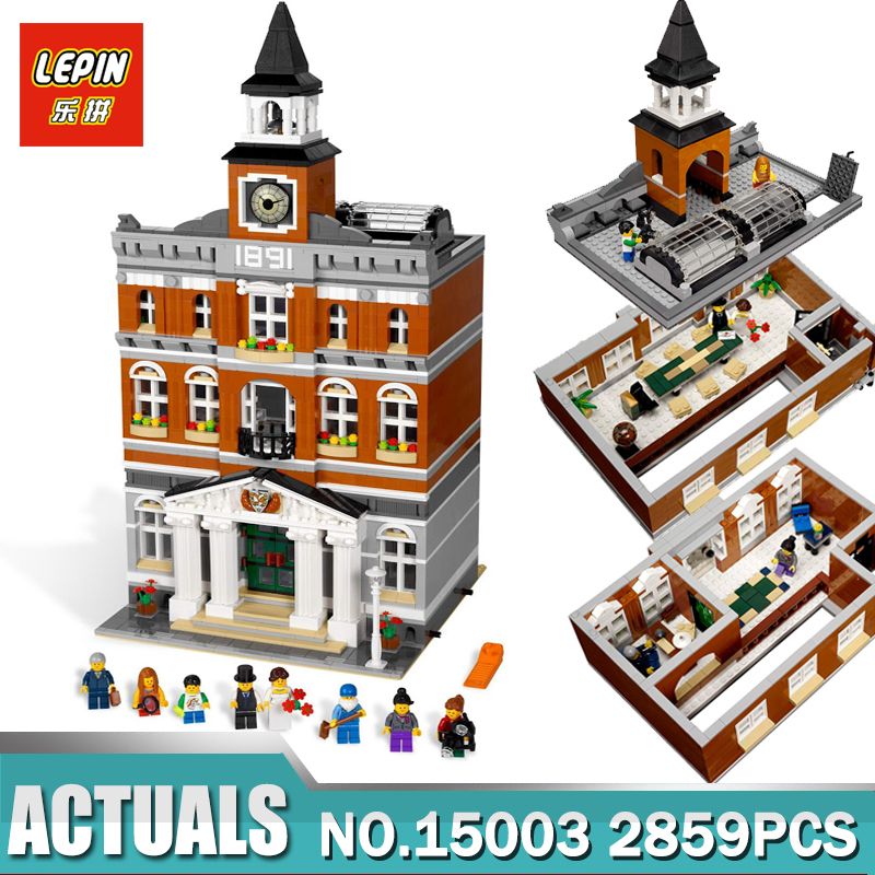 Lepin 15003 New 2859Pcs The town hall Model Building Kits Blocks Kid DIY Toy Gift LEPIN Compatible Legoing 10224 in stock lepin 15003 creators the town hall model compatible legoing 10224 building kits blocks kid diy toy gifts for children