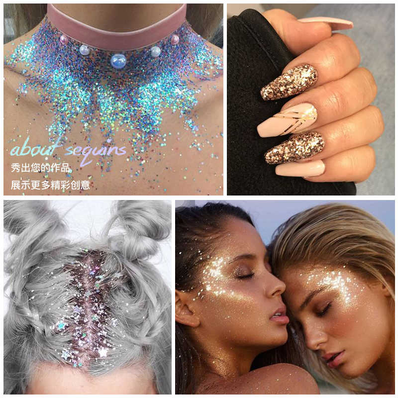 Pudaier Eyes Sequins Glitter Powder Party Makeup Shining Sequined Colorful Face Eyes Lip Body Hair Glitter Flash Nails Cosmetic