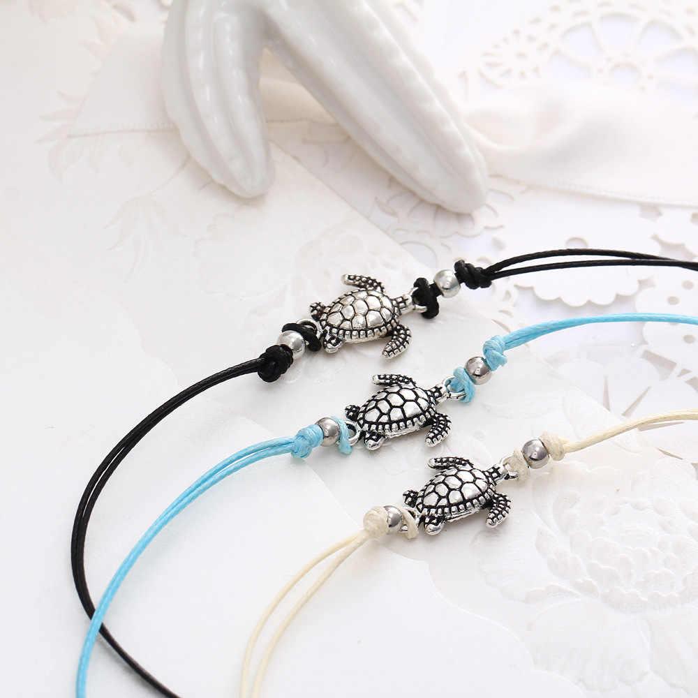 Bransoletka na kostkę antyczne srebro kolor zwierząt Turtle obrączki dla mężczyzn kobiety żółw urok stopy nogi łańcuch boso sandały biżuteria