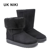 UKNIKI Flat Shoes Women Winter Boots Snow Female Mid Calf Boots