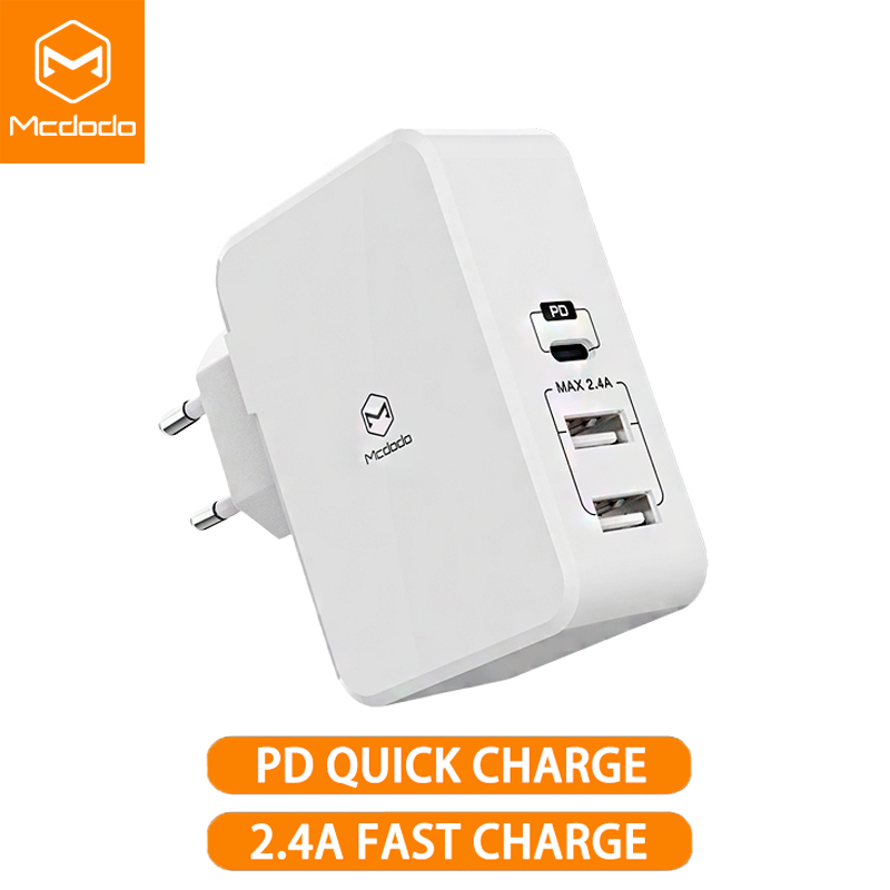 Charger 41W 3-Port Travel Wall Adapter with Type C 1 Set of USB Type C USB to USB C Reversible Cable