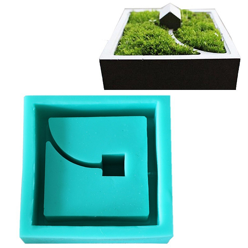 1PC Square Geometric Shape Plant Potted Cement Pot Silicone Mold Manual Clay Craft Plaster Concrete Silicone Mould Office Decor