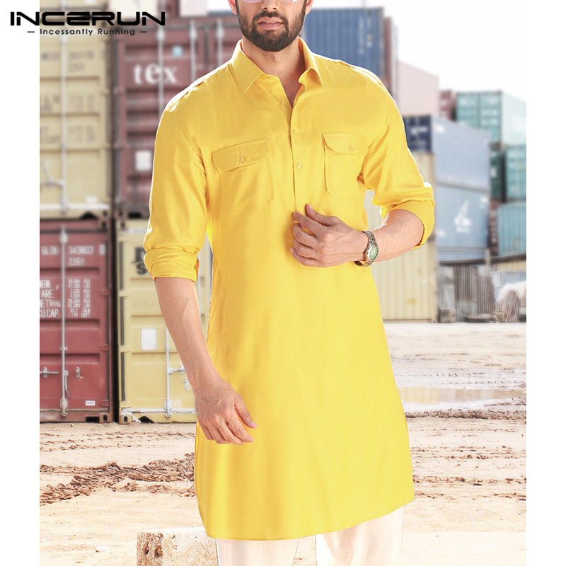 INCERUN Mens Shirt Indian Clothing Pockets Lapel Neck Loose Long Sleeve Solid Long Shirts Men Pakistan Muslim Clothes 2020 5XL