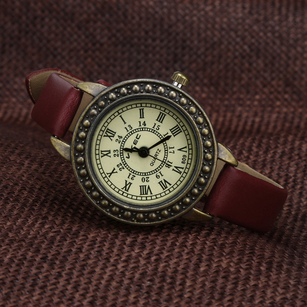 Women Retro Literary Fine Watches Ladies Vintage Roman Numerals Dial Leather Quartz Wristwatches Bracelet Clock Bayan Kol Saati