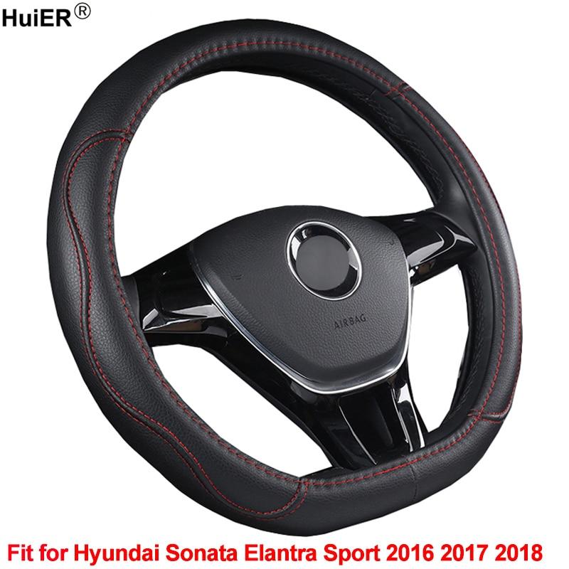 HuiER D Shape Car Steering Wheel Cover PU Leather For Hyundai Sonata Elantra Sport 2016 2017 2018 Comfortable Car Styling