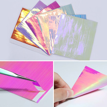BORN PRETTY 6 Sheets 3D Adhesive Holographic Nail Sticker Ultra Thin Laser Line Candy Nail Foil Decal