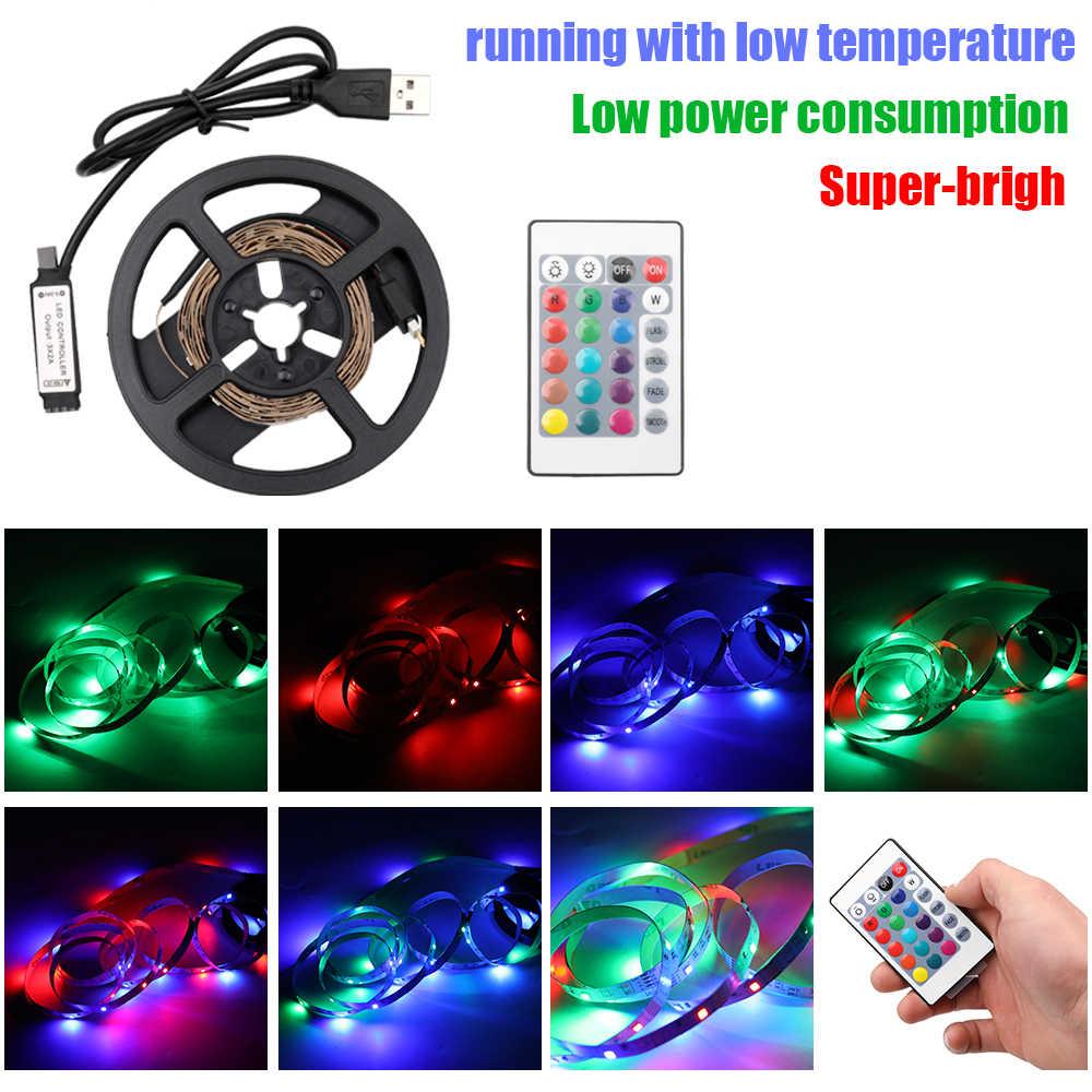 Гибкая светодиодная лента USB, не водонепроницаемая, для дома, вечерние украшения с пультом дистанционного управления, 3528 RGB, 5 В, 2 м, 1 м