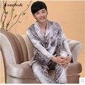 Novo Luxo pijamas Homens Cardigan Sleepwear Salão Dos Homens de Seda longo-sleeved Cetim Pijamas Dos Homens Pijamas Set Plus Size 4XL
